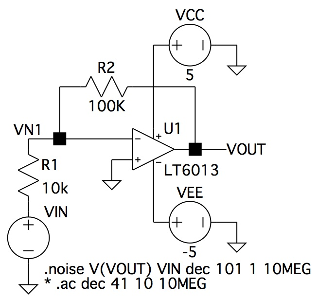 LTspice simulation schematic for noise simulation of opamp circuit
