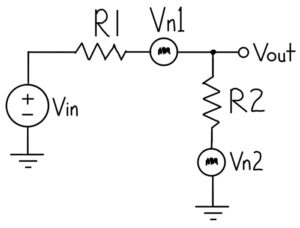 Voltage divider schematic showing noise voltages of resistors