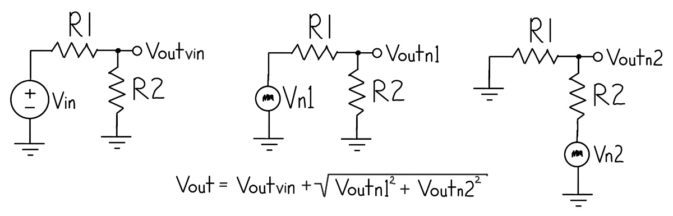 Voltage divider problem broken into 3 schematics for solution by superposition