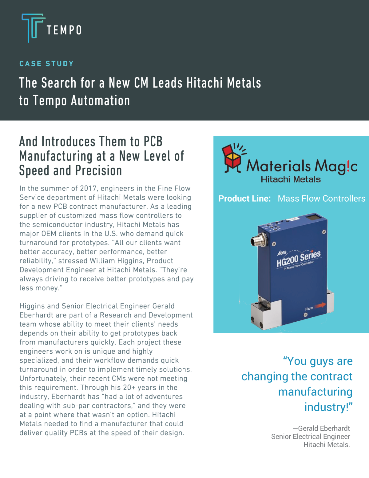 Hitachi Metals Case Study with Tempo Automation