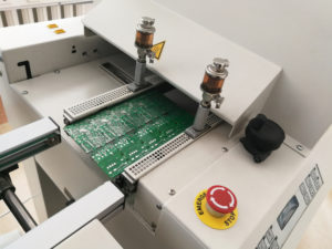 Assembled board moving to reflow oven