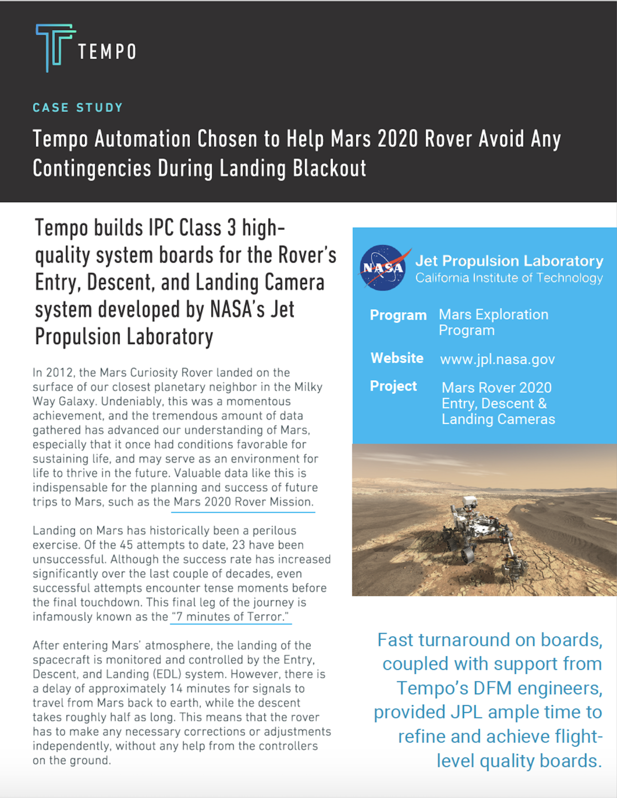 NASA's Jet Propulsion Laboratory Case Study with Tempo Automation