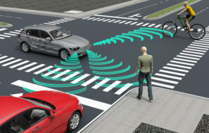 Autonomous vehicle recognizing potential obstacles nearby