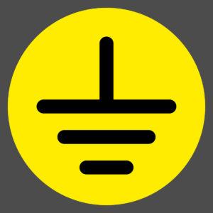 Ground symbol on caution yellow