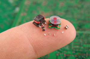 Small electronic components on finger