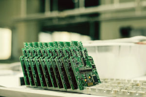 Circuit boards being stored