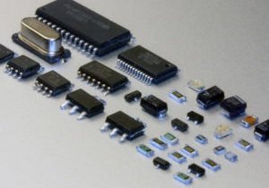 Electronic elements made in SMD technology. Microcontrollers, diodes, capacitors, transistors and resistors