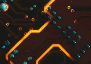 pcb circuit trace design. electronic components and science concept.