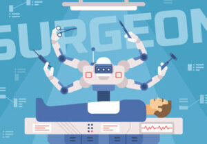 Surgicl robot performs surgery on a man, medical robot, vector illustration