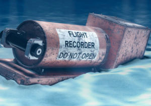 Flight data recorder, black box underwater. 3D rendering