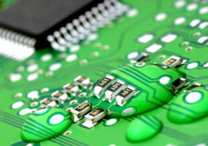 22623762 - drops of water on the printed circuit  close-up