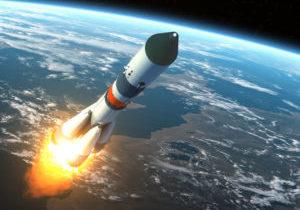 Cargo Rocket Takes Off. Realistic 3D Scene.