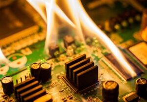 A circuit board failing to remove heat quickly enough