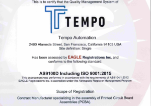 Tempo Automation receives AS9100D & ISO9001:2105 certifications